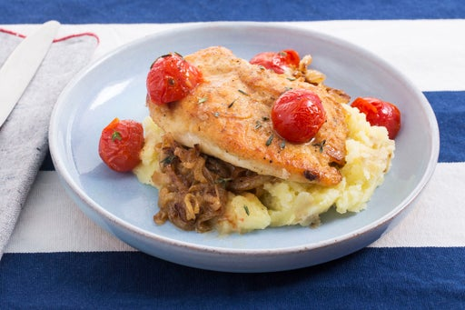 Seared Chicken & Caramelized Vegetables with Roasted Cherry Tomatoes & Mashed Potatoes