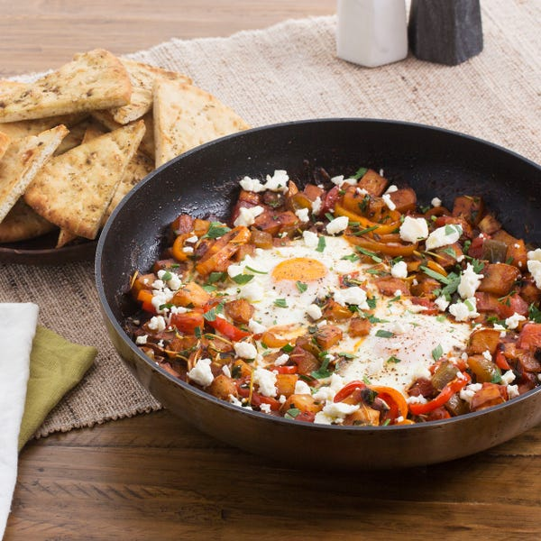 Summer Pepper & Potato Shakshuka with Pea Shoots & Spiced Pita Chips