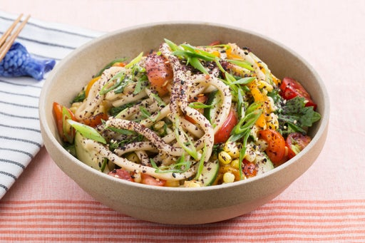 Summer Udon Noodle Salad with Cherry Tomatoes, Corn & Summer Sweet Pepper