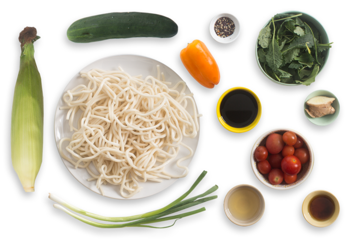 Summer Udon Noodle Salad with Cherry Tomatoes, Corn & Summer Sweet Pepper ingredients