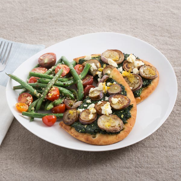 Fairy Tale Eggplant & Spinach Flatbreads with Warm Green Bean & Tomato Salad
