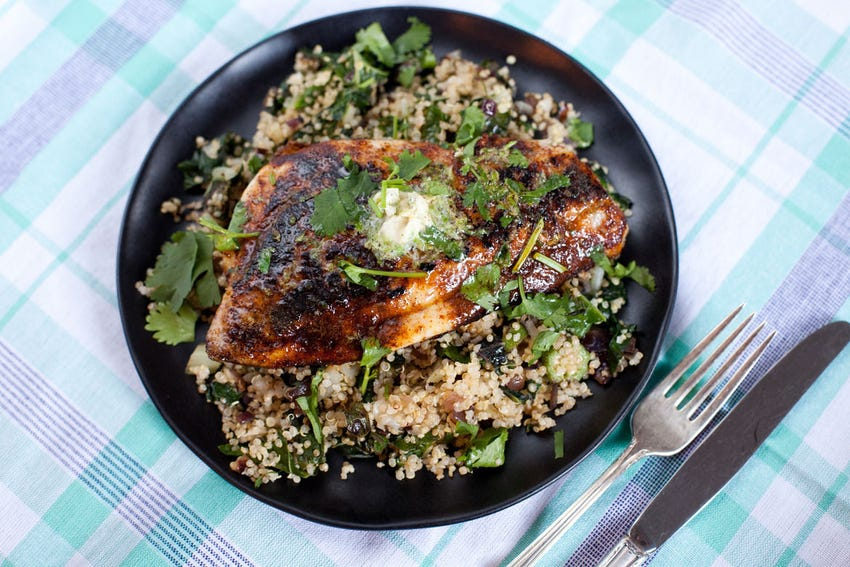 Chili-Rubbed Porgy with Lime Butter & Vegetable Quinoa