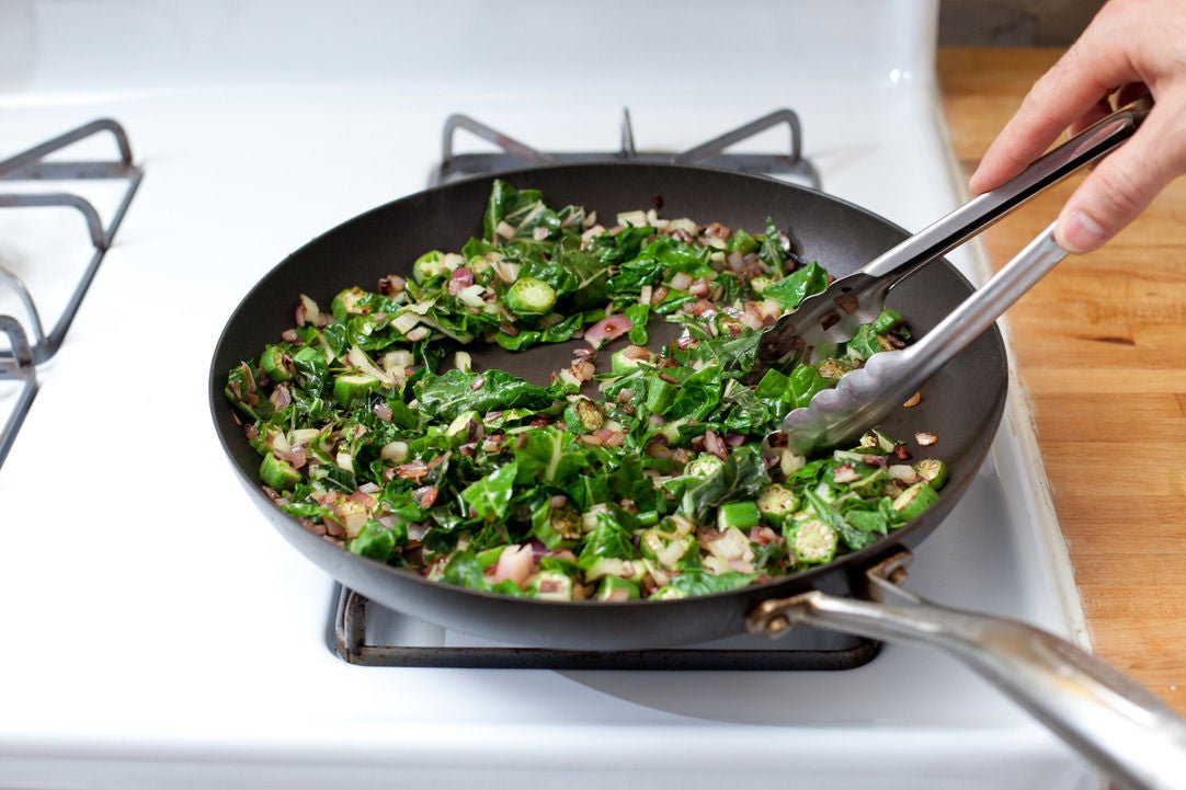 Cook the okra & chard: