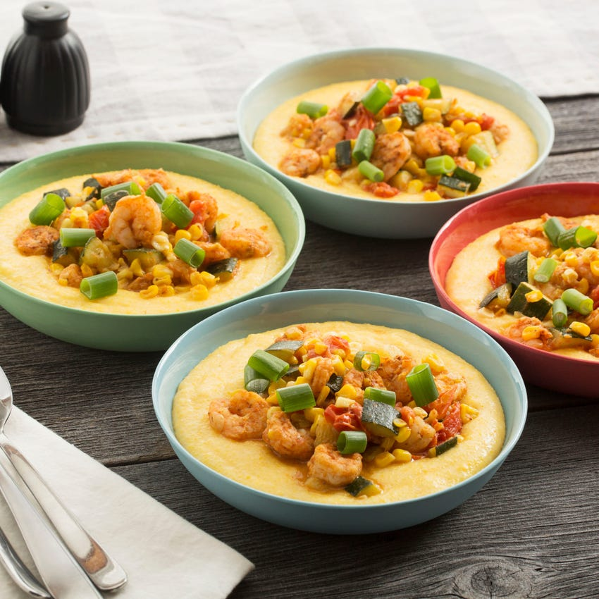 Shrimp & Two-Cheese Grits with Sautéed Summer Vegetables