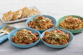 Late Summer Beef Bolognese with Cherry Tomatoes & Crispy Garlic Bread