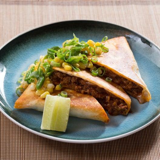 Mexican Beef Quesadillas with Creamy Corn & Shishito Pepper Salsa