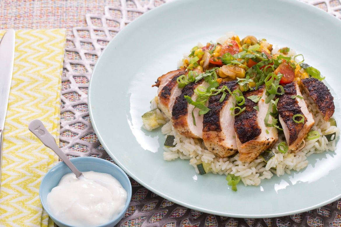 Blackened Chicken with Zucchini Rice, Corn & Cherry Tomatoes