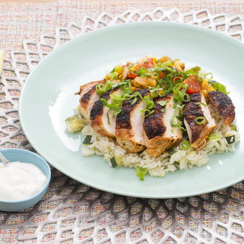 Blackened Chicken with Zucchini Rice, Corn & Cherry Tomatoes