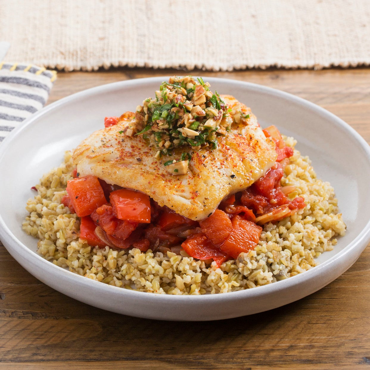Basque-Style Cod with Sweet Pepper-Tomato Sauce & Freekeh