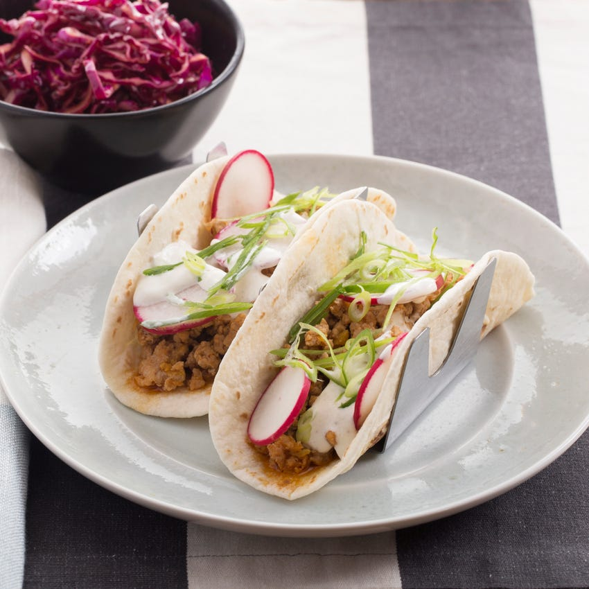 Korean Pork Tacos with Spicy Red Cabbage Slaw