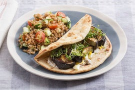 Roasted Eggplant Pitas with Tomato, Cucumber & Farro Salad