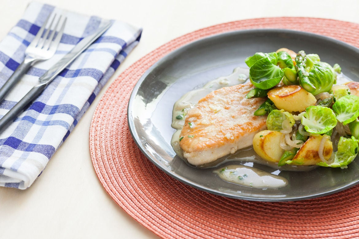 Lemon Thyme Turkey Cutlets with Asparagus, Brussels Sprouts & Crispy Fingerlings