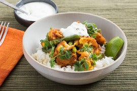 Spiced Cauliflower with Jasmine Rice & Cilantro-Yogurt Sauce