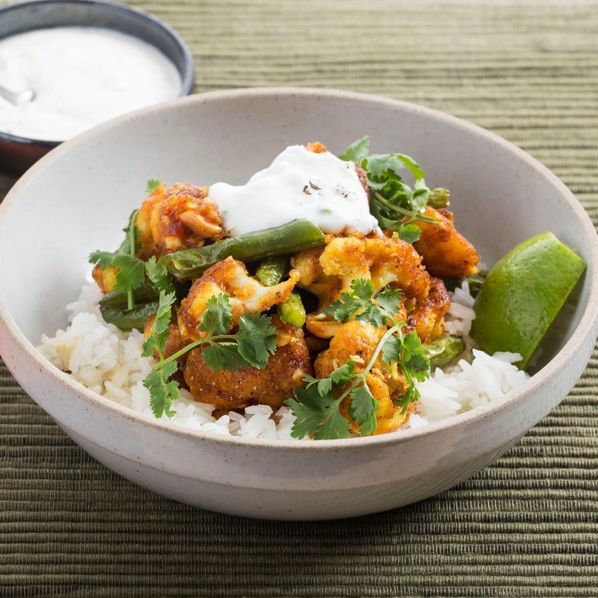 Spiced Cauliflower with Jasmine Rice & Cilantro-Yogurt Sauce
