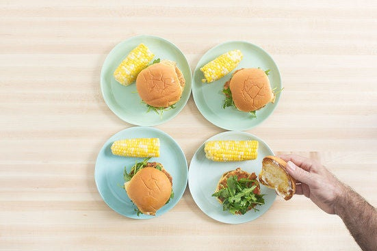 Assemble the burgers & plate your dish: