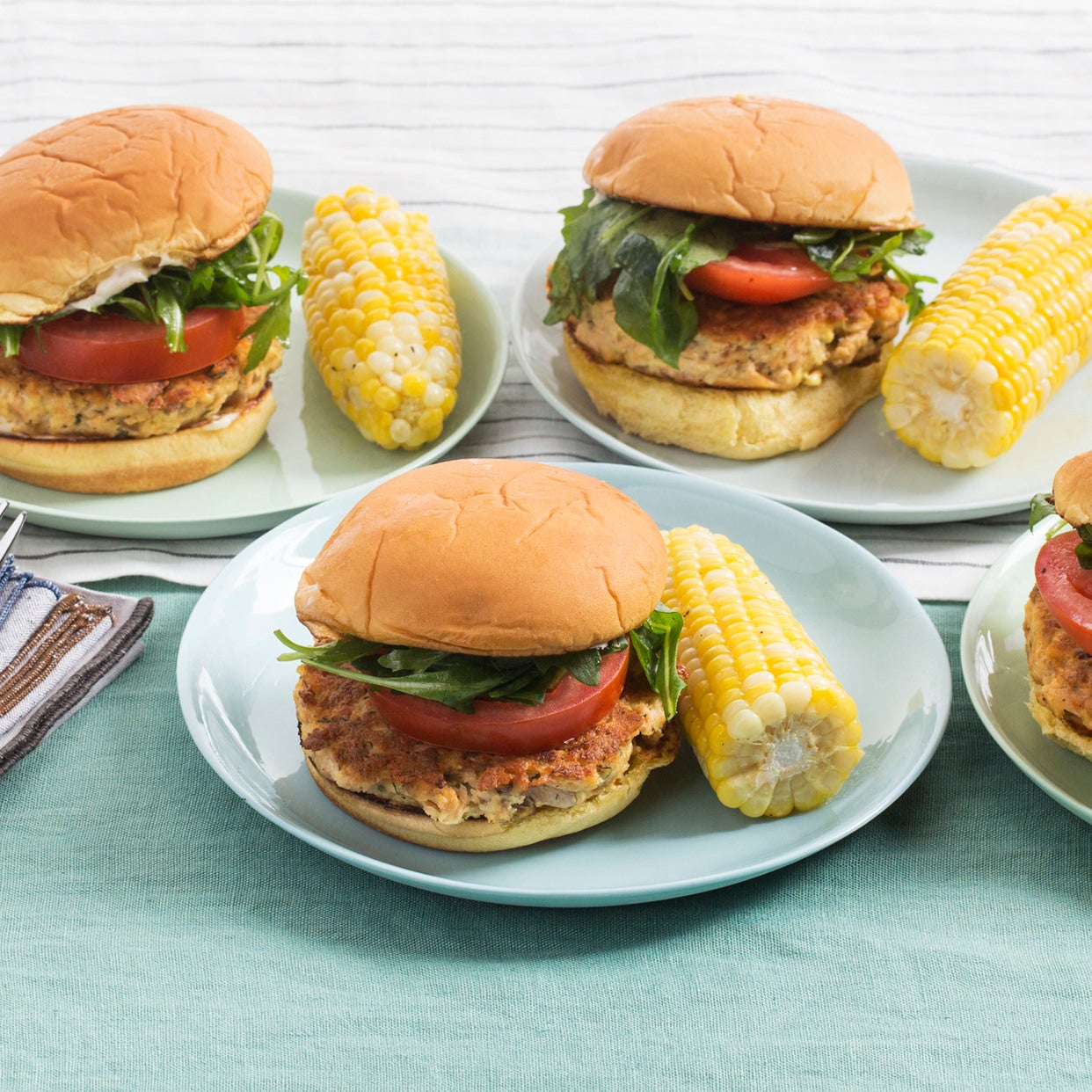 Lemon-Dill Salmon Burgers with Buttered Corn on the Cob