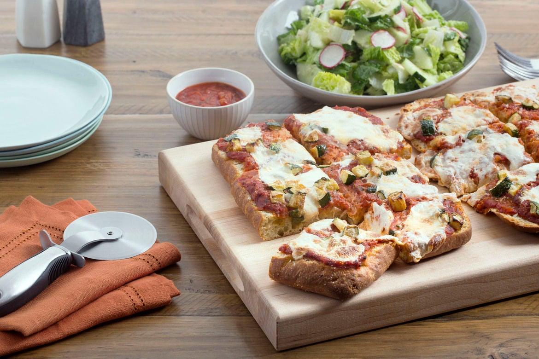 Summer Squash & Mozzarella Focaccia Pizza with Cucumber, Radish & Romaine Salad