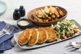 Crispy Pork Chops with Roasted Potato Wedges & Summer Squash-Tomato Slaw