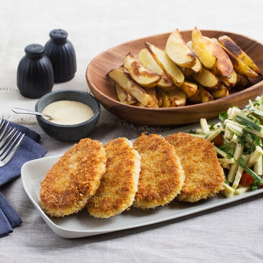 Crispy Pork Chops with Roasted Potato Wedges & Summer Squash-Tomato Slaw