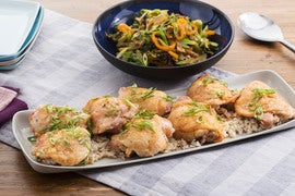 Roasted Chicken & Teriyaki Vegetables with Shiitake Rice