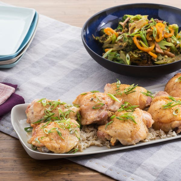 Roasted Chicken & Teriyaki Vegetables with Shiitake Rice