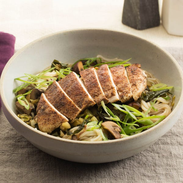 Five-Spice Chicken with Vermicelli, Mushrooms & Baby Fennel