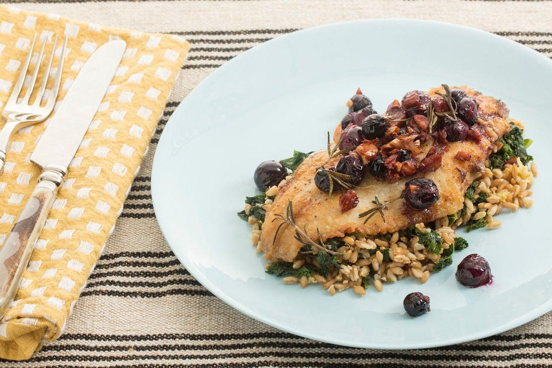 Crispy Catfish with Kale-Farro Salad & Warm Grape Relish