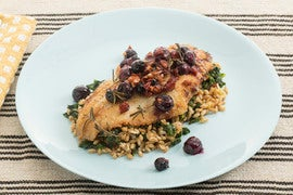 Crispy Catfish with Kale-Farro Salad & Warm Grape Relish