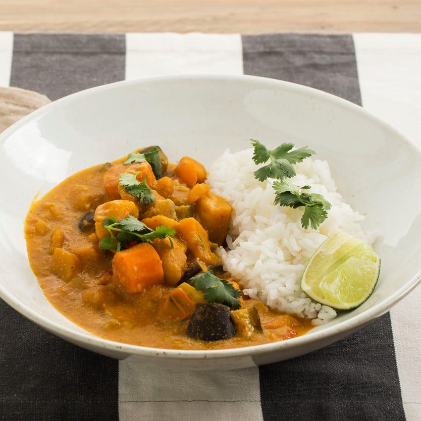 Thai Red Curry & Rice with Shokichi Squash & Eggplant