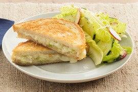 Fontina & Leek Grilled Cheese Sandwiches with Romaine, Cucumber & Radish Salad