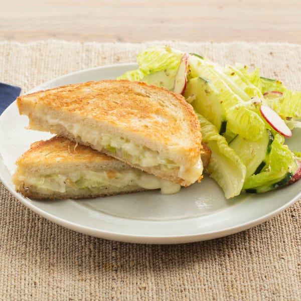 Fontina & Leek Grilled Cheese Sandwiches with Romaine, Cucumber & Radish Salad