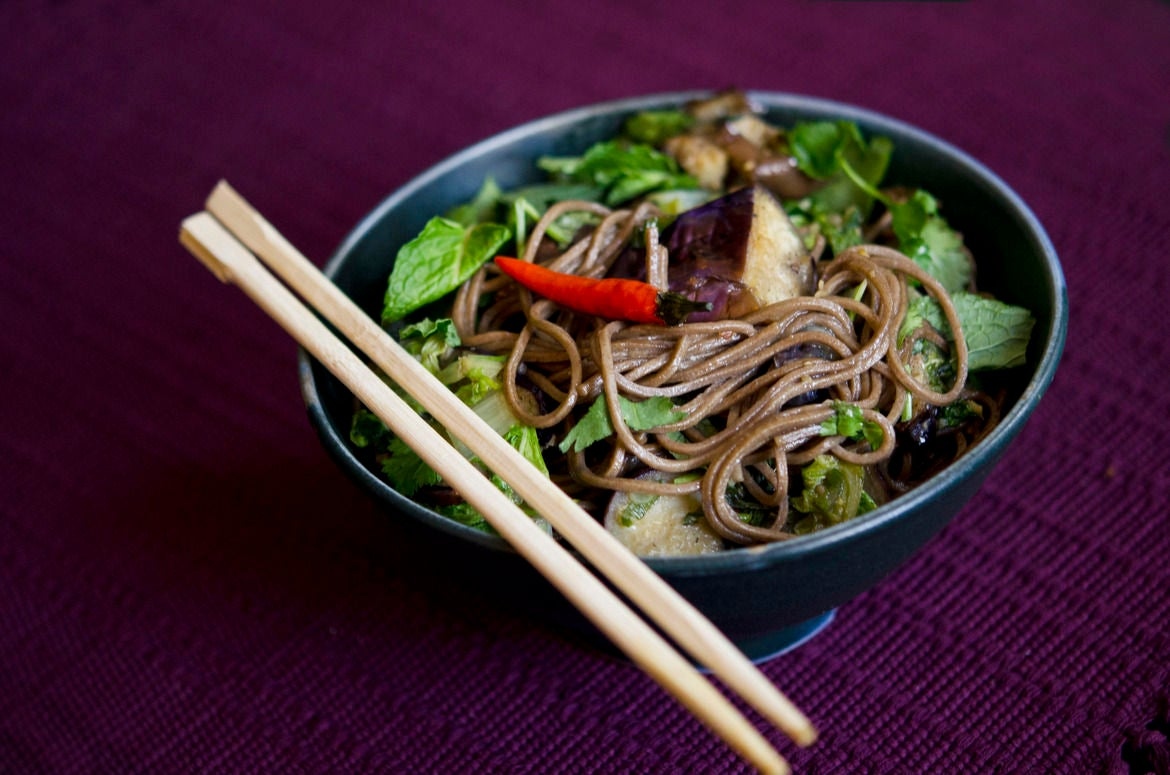 Eggplant & Soba Noodles with Taiwanese Bok Choy