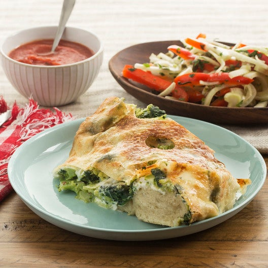 Broccoli & Spinach Stromboli with Fennel-Bell Pepper Salad & Tomato Dipping Sauce