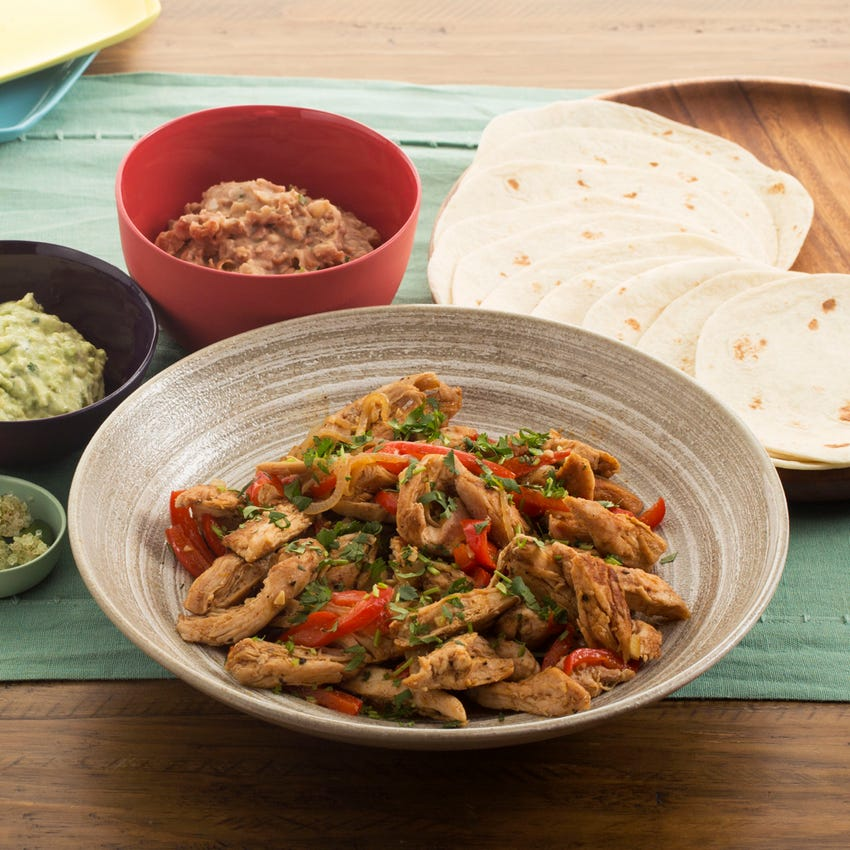 Chicken Fajitas with Finger Limes, Refried Beans & Creamy Guacamole