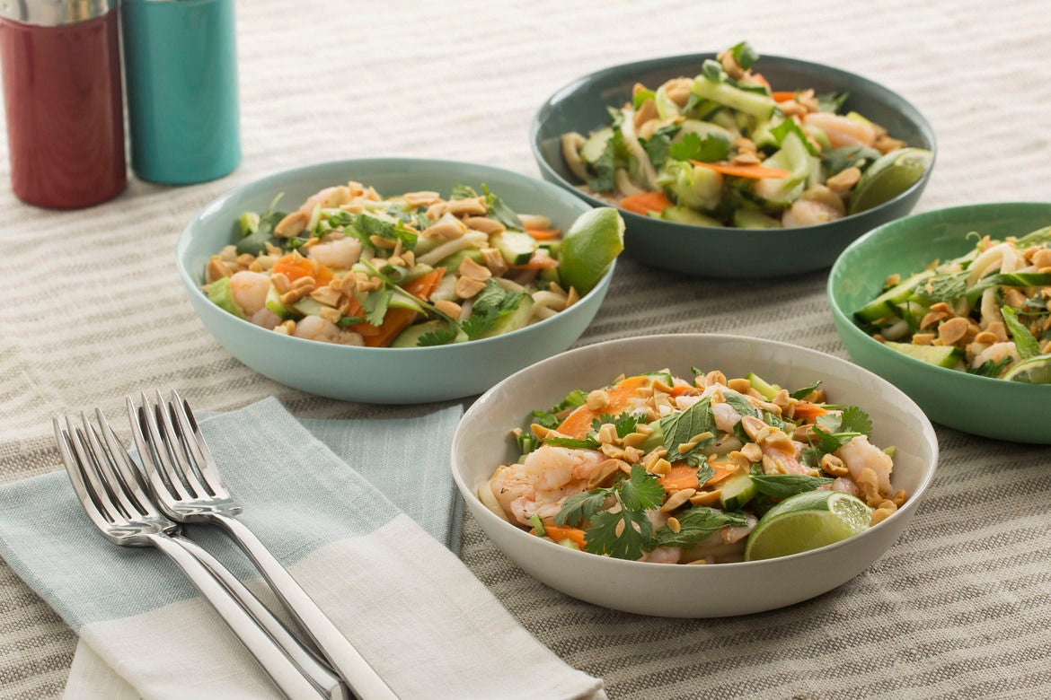 Shrimp & Udon Noodle Salad with Cucumber, Carrots & Baby Bok Choy