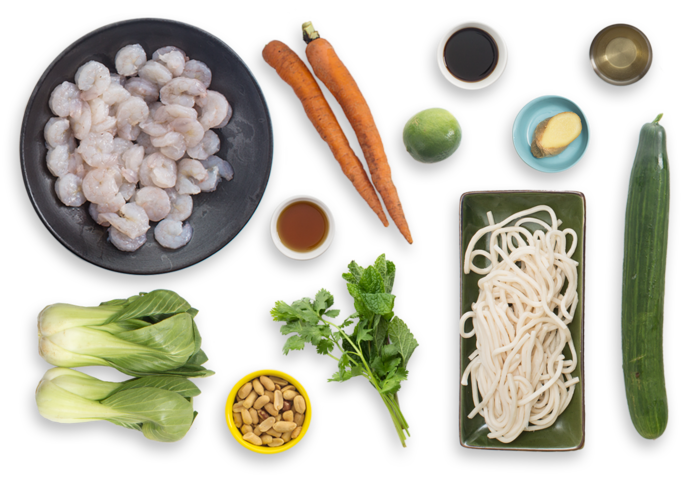 Shrimp & Udon Noodle Salad with Cucumber, Carrots & Baby Bok Choy ingredients