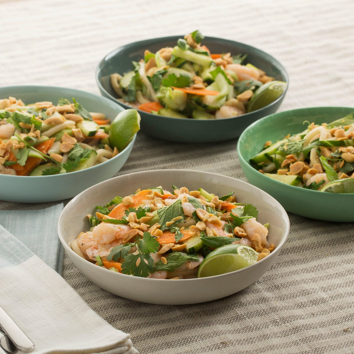 Shrimp & Udon Noodle Salad with Cucumber, Carrots & Baby Bok Choy