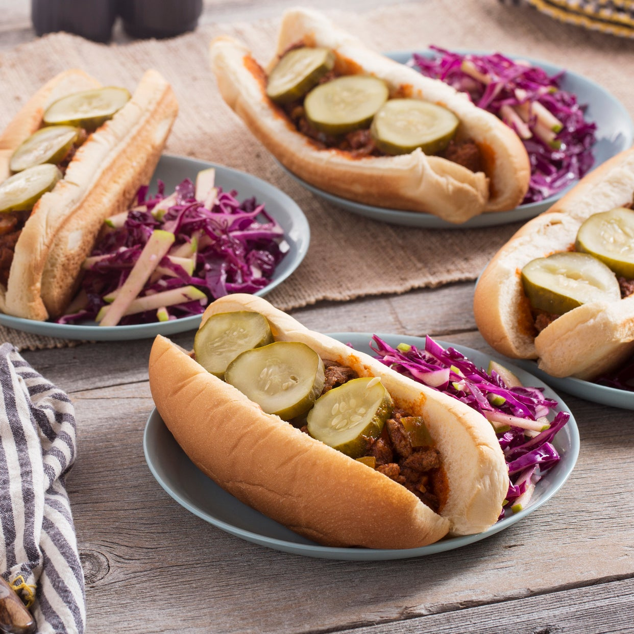 Sloppy Joes with Bell Pepper & Red Cabbage-Apple Slaw