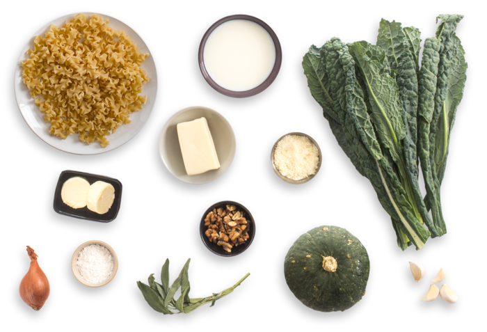 Shokichi Squash Pasta with Walnuts, Sage & Kale ingredients
