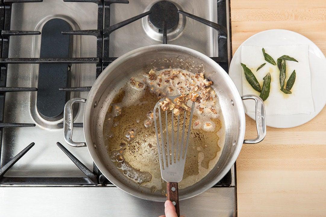 Make the sage & walnut garnish: