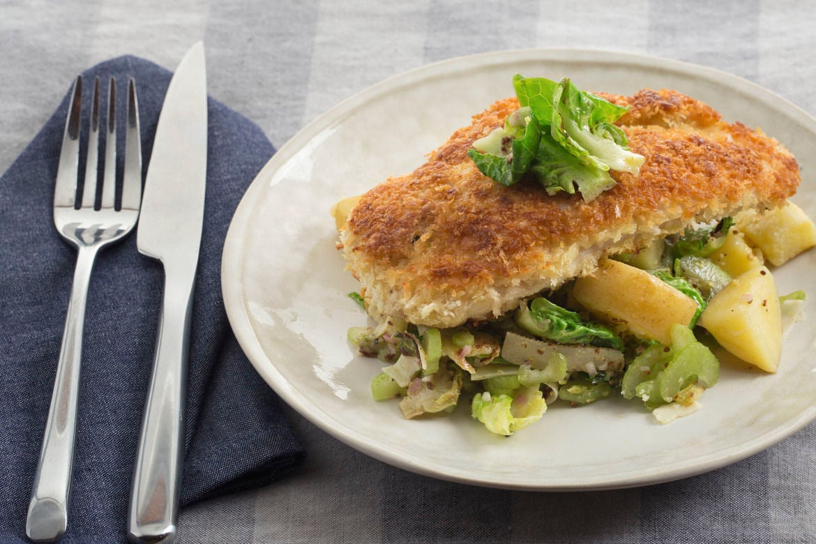 Crispy Chicken Milanese with Warm Brussels Sprout & Potato Salad