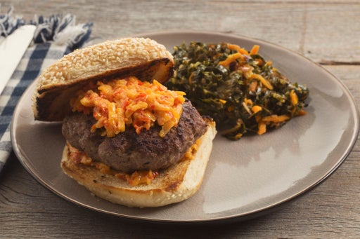 Fresh Pimento Cheeseburgers with Collard Green & Carrot Slaw