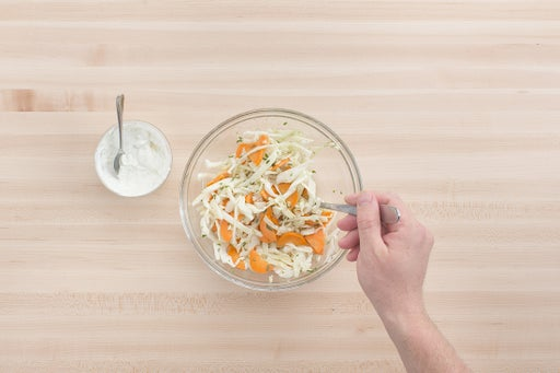 Make the lime crema & slaw: