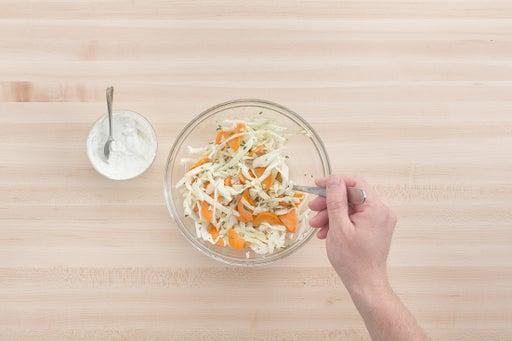 Make the lime crema & slaw: