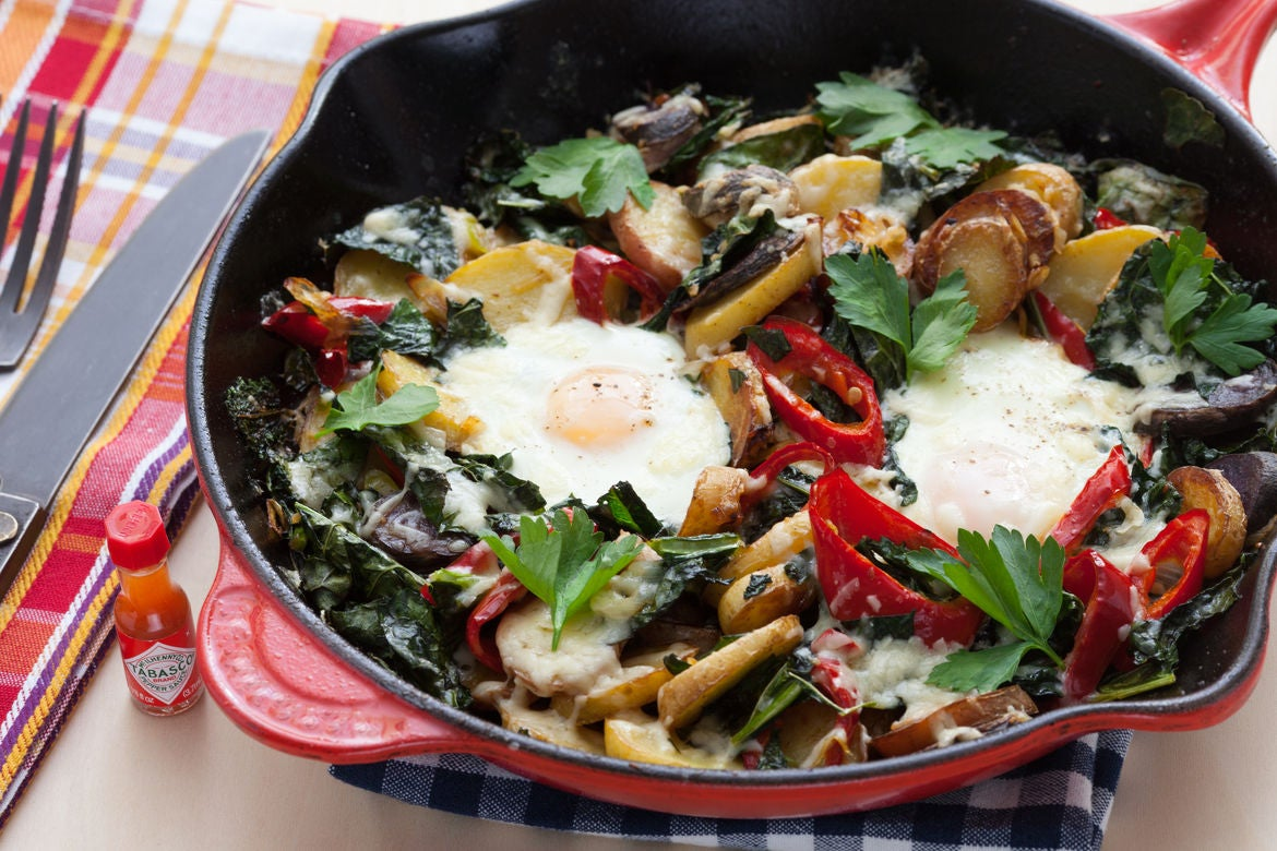 Baked Eggs & Potato Hash with Sweet Peppers & Kale