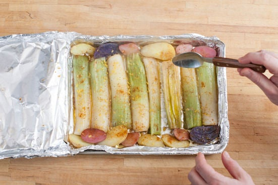 Roast the leeks & potatoes:
