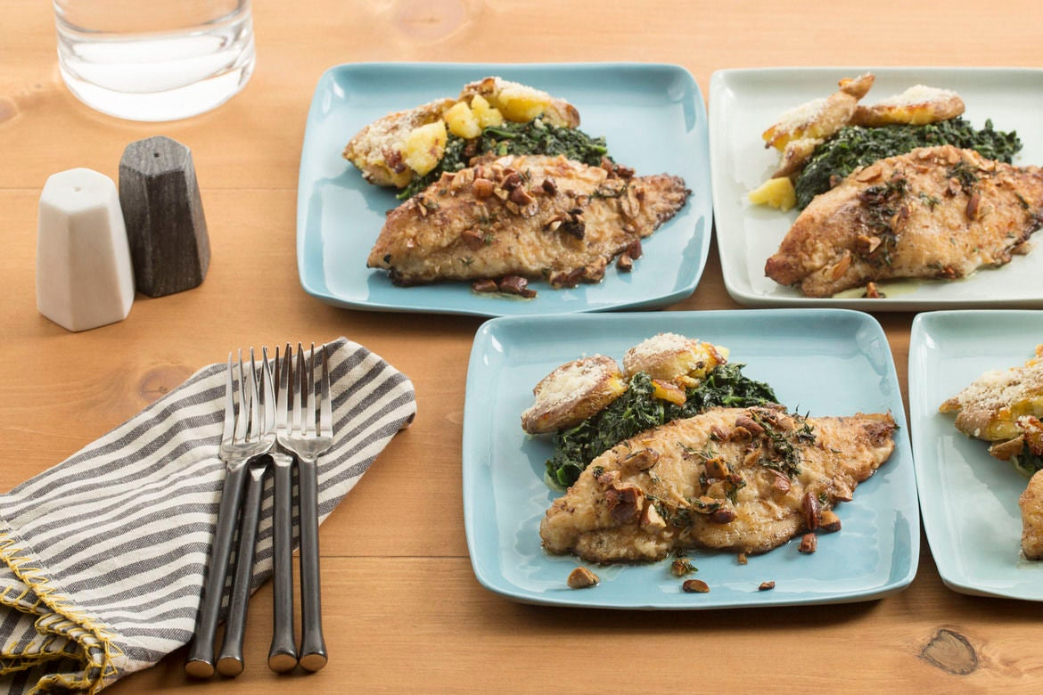 Lemon-Brown Butter Catfish with Crispy Smashed Potatoes & Creamed Spinach