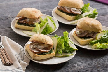 Roasted Pork Sandwiches with Kale Pesto & Caper Mayonnaise