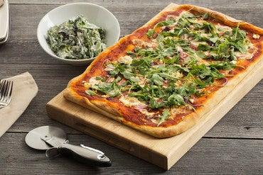 Greek Pizza with Warm Broccolini Salad