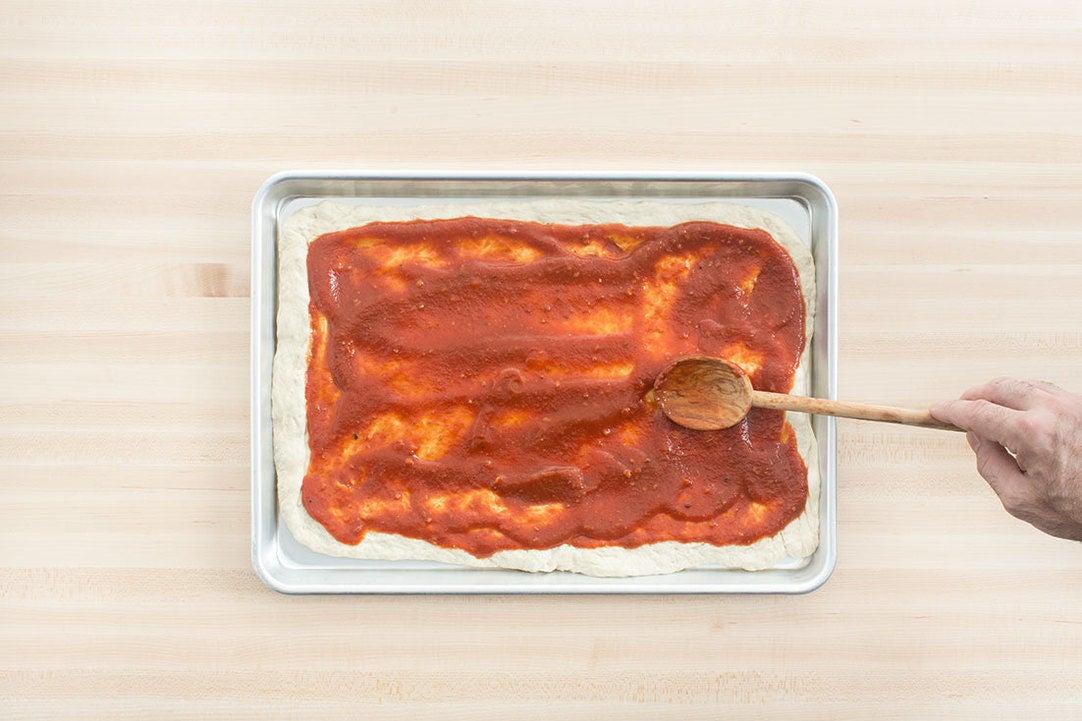 Prepare the dough & add the sauce: